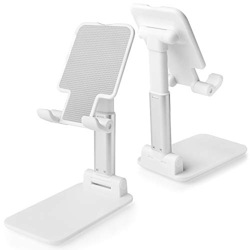 Cell Phone Stand, Tablet Holder, WATACHE Height Adjustable Aluminum Mount Dock Cradle for iPhone Samsung, Tablet, iPad, Nintendo Switch, Kindle, Great for Facetime& Recipe Reading (White)