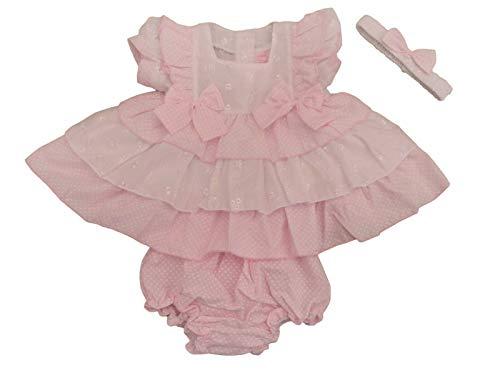 BNWT Sommerkleid-Set für Mädchen mit Rüschen, Lochstickerei, spanischer Stil Gr. 6-9 Monate, rose
