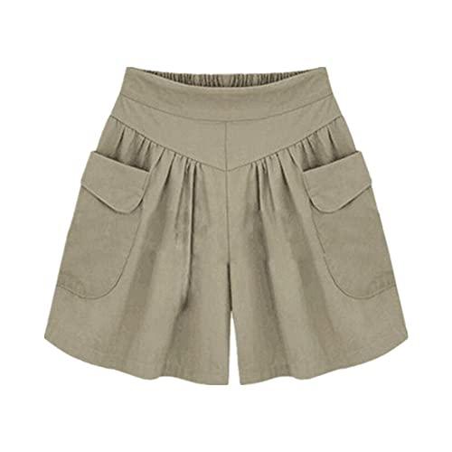 N\P Pantalones cortos de las mujeres de verano de cintura alta flojo de gran tamaño pantalones cortos casuales