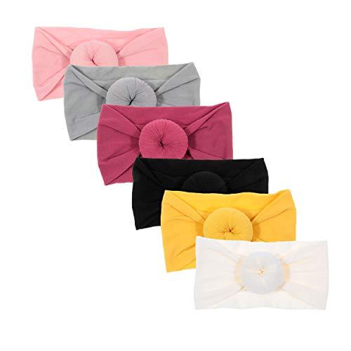 Nishine 6 Pack Cute Toddler Baby Girls Elastic Soft Nylon Headwraps Infant Knot Bow Headband Turban (Set 2)