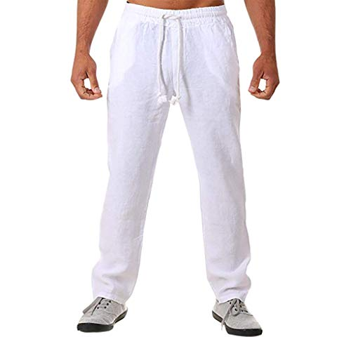 Pantaloni Uomo Lunghi Cargo Pantalone da Lavoro Casuale All'aperto Nuovo Stile Semplice e alla Moda in Cotone e Lino (M,4- Bianca)