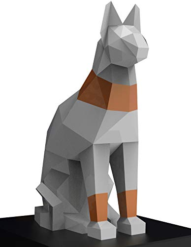 Oh Glam Home Kit DIY Gato Egipcio Papercraft 3D Escultura Origami 3D Puzzle 3D PRECORTADO (Blanco, Bronce)