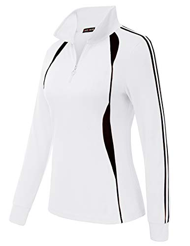 JACK SMITH Womens Athletic Performance Quarter 1/4-Zip Pullover(M,White 2002)