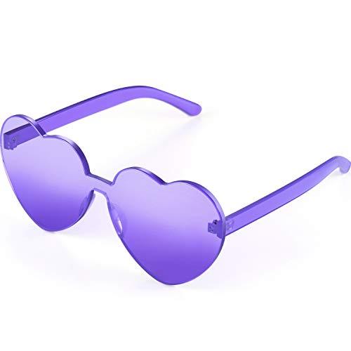Maxdot Heart Shape Sunglasses Party Sunglasses (Transparent Purple)