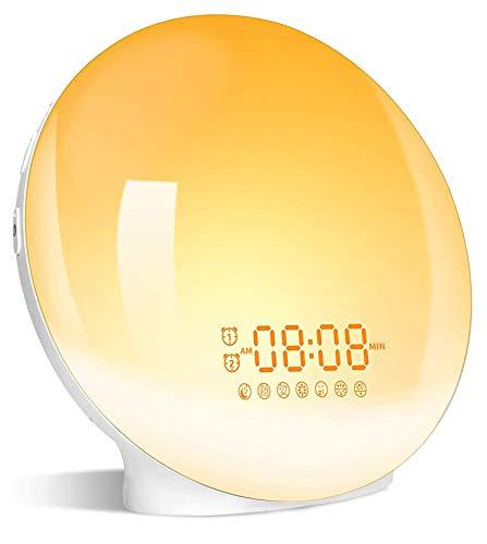 Réveil avec simulation de lever de soleil et coucher de soleil double alarmes fonction de réveil radio FM veilleuse nuit 7 sons naturels 7 couleurs lampe d'ambiance 20 luminosité