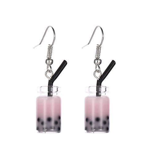AchidistviQ Pendientes de gota creativos con forma de té con forma de burbuja, divertidos, para mujeres y niñas, regalo de cumpleaños, color rosa
