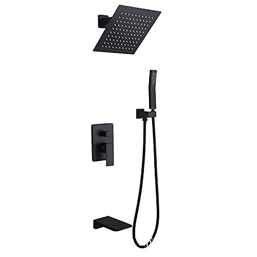 KAUTO Schwarzes Duschsystem Quadratisches 8-Zoll-Regenduschkopfsystem mit handgehaltenem Kombiset, an der Wand montiertem Duscharmaturenset Komplett mit Messingventil und Wasserfall-Badewannenarmatur