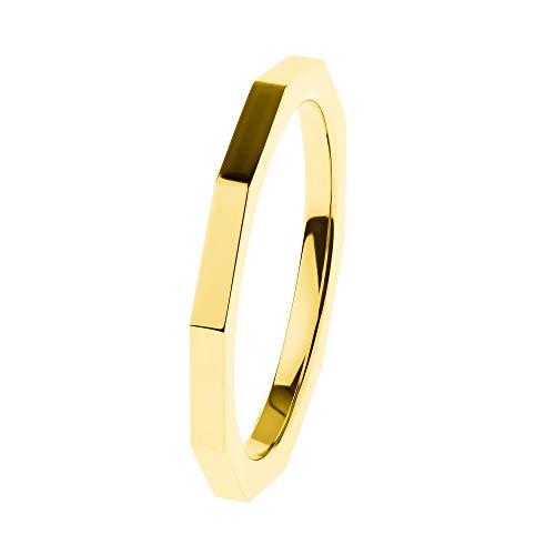 Ernstes Design Anillo R585 Evia de acero inoxidable pulido dorado amarillo 2 mm anillo para mujer