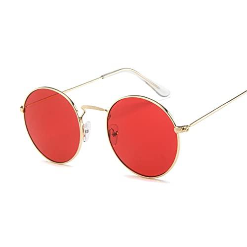 FDNFG Gafas de Sol Gafas de Sol Redondas Mujeres Diseñador Gafas de Sol Femenino Moda Verano Gafas de Sol (Lenses Color : GoldRed)