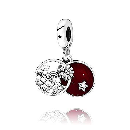 Pandora 925 colgante de plata esterlina Diy Navidad nuevas cuentas Santa amor paz alegría encanto fit pulseras originales joyería de mujer