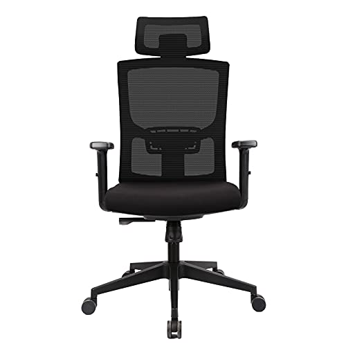 Komene Mesh Ergonomic Office Chair, Computer Desk Chair with Adjustable Headrest Lumbar Support Soft Sponge Cushion, Reclining Breathable High Back Rolling Swivel Task Chair for Home and Office-Black