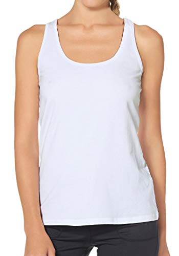 H HIAMIGOS Damen Sporttop Yoga Tanktop Unterhemd Ringerrücken Workout Laufen Fitness Funktions Shirt aus Feinripp mit Rundhals 1er-Pack, L, weiß