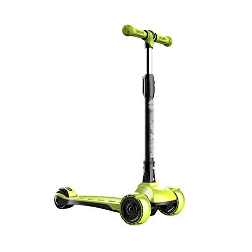 Patinete Scooter de Los Niños Altura Ajustable Magro para Dirigir con la Luz LED sobre Ruedas de Scooter para Niños de 2 A 12 Años de Edad (Color : Green)