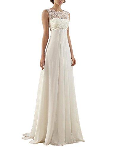 OYISHA Women's 2019 Sleeveless A-line Empire Lace Chiffon Wedding Dress for Bride White 8
