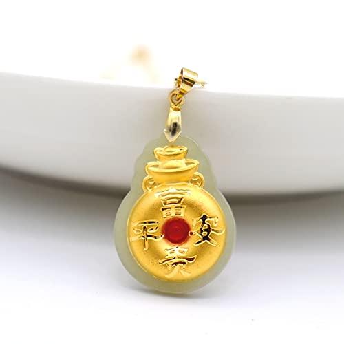 YUNHE Lingote de Oro, Collar de Jade Hetian para Hombres y Mujeres, Tesoro de Oro de 24 K, Colgantes de la Suerte Ricos y pacíficos, joyería Fina para Hombre y Mujer