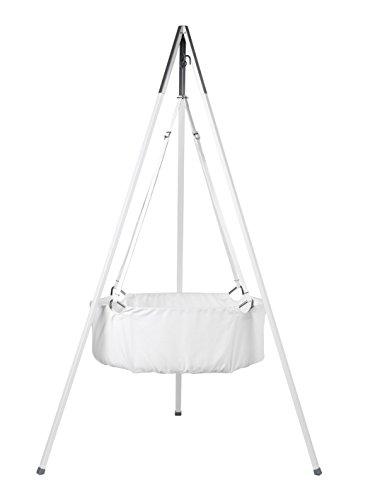 Leander Berceau avec matelas et crochets de plafond Blanc