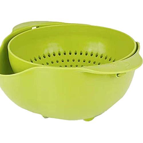 Cesta de drenaje, 2 en 1, colador de cocina multifunción, juego de cuencos, portátil, desmontable, doble capa, giratorio, lavabo para la limpieza de frutas, verduras, trigo (material de la varilla)