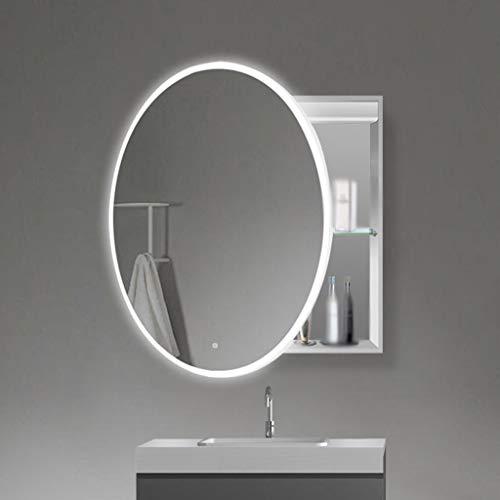 ZXCV Badkamerkast, dubbel geïllustreerde badkamerspiegel, wandmontage, metaal, modern, opbergkast, LED verstelbare lampen, ovaal