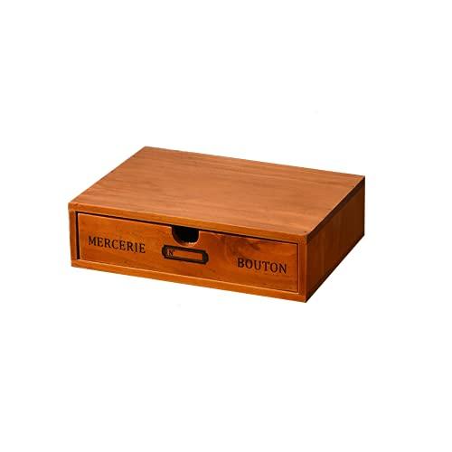 Caja de almacenamiento de joyas de escritorio de madera de madera Easenhub, caja de madera Retro Caja de madera Aumentar el bastidor