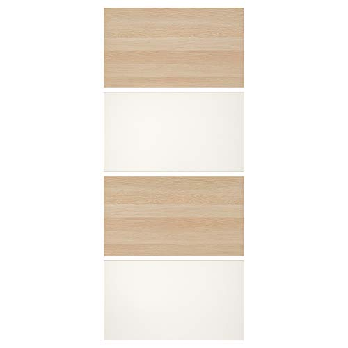 MEHAMN fyra paneler för skjutdörr 100 x 236 cm vitmålad ek effekt/vit