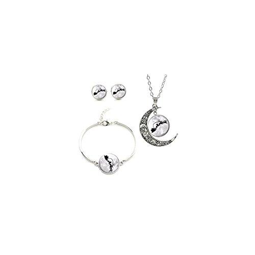Vintage zwarte witte stijl Full Moon Santa's Sledge and Reindeer ketting oorbel Armband