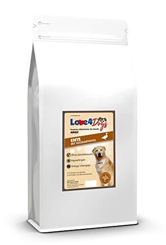 Love4Dogs Adult Ente mit Süßkartoffel und Orange 2kg Premium Trockenfutter für Hunde