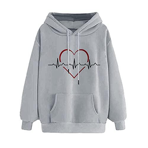 MEIPIQI Sudadera con capucha para mujer 2021 con estampado de amor, gris, L