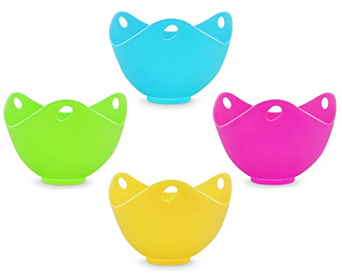 Ortarco Egg Poacher Ortarco Silicone Egg Poachers Poached Nonstick Egg Cooker for Stovetop or Microwave Egg Poacher Cup with Ring Stander BPA Free Kitchen Tool 4PCS