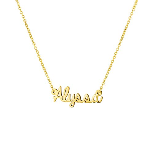 Girl Name Necklace Big Initial Gold Plated Best Friend Jewelry Women Gift for Her Alyssa