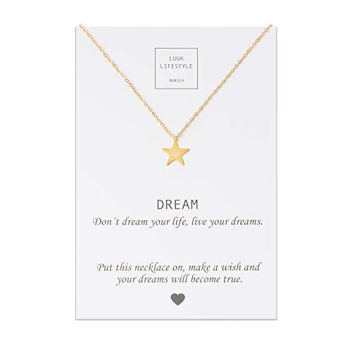 LUUK LIFESTYLE Collar de acero inoxidable con colgante de corazón, elefante, estrella y cita Dream, joya de mujer, tarjeta de regalo, amuleto, oro, plata, rosé