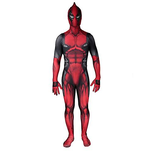 MIANslippers Deadpool Halloween 3D Disfraz Impreso Niños Cosplay Body Suit Adults Performance Traje Zentai Onesies Fiesta de cumpleaños Regalos Fuego Vestido,Red-Adult(160~165)