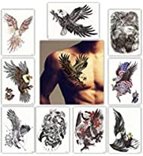 DevilFace Large Temporary tattoos for Men Women, 9 Sheets Fake Tattoo (Hawks)