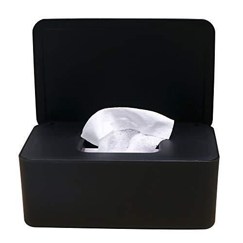 PopHMN Dispensador de toallitas, Caja dispensadora de toallitas húmedas de tejido seco con tapa de sellado Limpie el contenedor de la servilleta del contenedor para el hogar de escritorio (Negro)