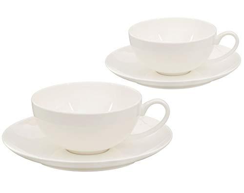 Buchensee Teetassen Set aus Fine Bone China Porzellan. 2 Teetassen je 150ml und 2 Unterteller in fein-cremigem Weiß.