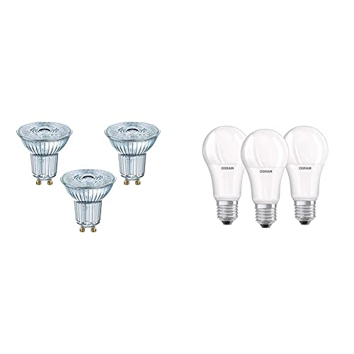 Osram Lampadine Led Spot Par16, 4.3 W Equivalenti 50W, Attacco Gu10 & Led Base Classic A Lampada, A Forma Di Lampadina Con Attacco E27, Non Dimmerabile