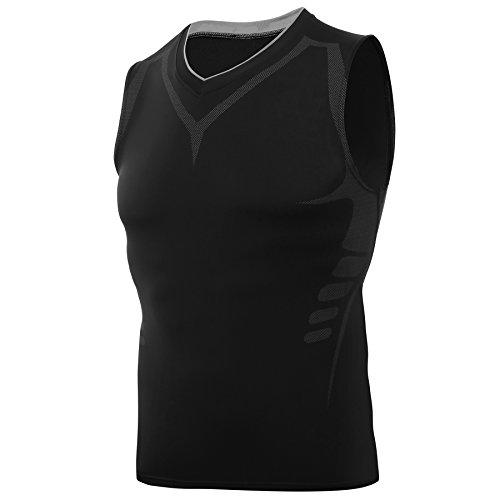 AMZSPORT Camiseta de compresión sin mangas para hombre Deportes de Secado Rápido Baselayer Funcionamiento Tirantes Negro L