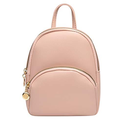 Sunday77 Ladies Double Pull Solid Color Headphone Backpack Laptop Handbag Computer School Shoulder Bag Lightweight Business Work Bag Pink