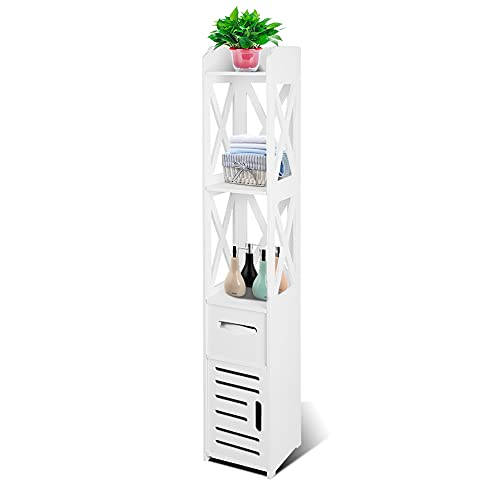 Ejoyous Bathroom Floor Cabinet, 47.24 Inches Tall Cabinet Multifunctional White Free Standing Narrow Wooden Tower Cabinet Storage Shelf Corner Cabinet Organizer with Doors and Shelves
