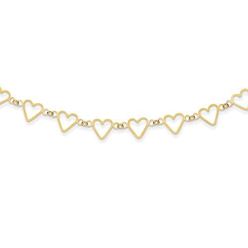 14ct geel goud gepolijst lente ring ovale kabel met open platte liefde harten ketting sieraden geschenken voor vrouwen - 41 Centimeters