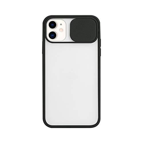 Funda compatible con iPhone 12 Pro Max [Protección de cámara] diseño slide Cap carcasa rígida traslúcida suave bordes antigolpes protección de lente para iPhone 12 Pro Max Case (negro)
