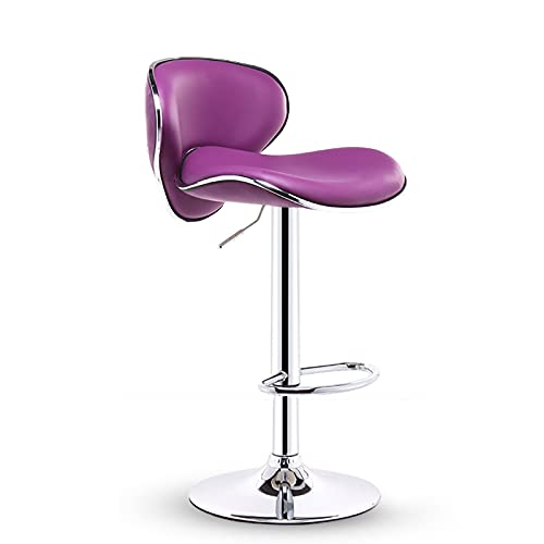 DUTUI Bar Stools Set of Vintage Swivel Leather Bar Chair with Backrest And Footrest, Modern Pub Kitchen Counter Height Barstools,Purple