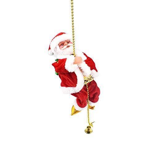 Fesjoy Babbo Natale Arrampicata su corda Ornamento natalizio A pile Canto Danza Camminata Arrampicata Bambola Giocattoli Regali Decorazioni Giocattoli da canto