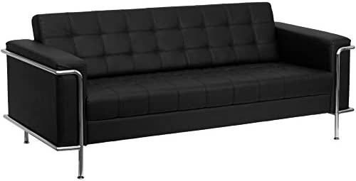 Best Flash Furniture HERCULES Lesley Series Contemporary Black Leather Sofa with Encasing Frame