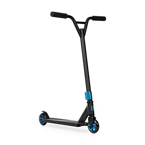 Klarfit Stuntz Kickscooter - Patinete, patinete urbano, ruedas de PU de 100 mm, rodamiento ABEC de 7 bolas, manillar en Y a 360°, freno de pie, resiste hasta 100 kg, antideslizante, azul/negro