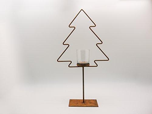 Kandelaar dennenboom metaal 52 cm hoog met glas kerst rooster decoratie boom staander raamdecoratie