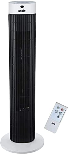 ANSIO Tower Fan 30-inch with Remote For Home and Office, 7.5 Hour Timer, 3 Speed Oscillating Fan - Black & White