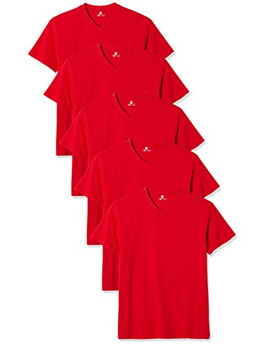 Lower East Herren T-Shirt mit V-Ausschnitt, 5er Pack, Einfarbig, Gr. XXX-Large, Rot