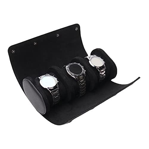 Qundkouy Estojo de viagem para rolo de relógio, caixa organizadora de exibição de relógio para homens e mulheres, rolo de relógio de viagem com veludo para proteção, para armazenamento doméstico, viagem e exibição (preto)