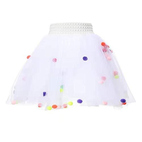 MRULIC Baby und Mädchen Tüllrock Tutu Set Mit Kinder Rock Ballettrock TüTü Unterkleid Petticoat Rockabilly Kurz Kleid Flusen Ball Prop Fotografie Kostüm(Weiß,Höhe:80-100cm)