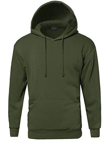 Style by William Basic Pullover Fleece Hooded Sweatshirt Olive XL
